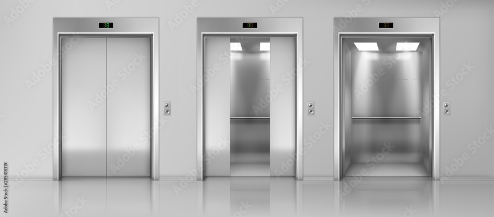 Fototapeta Modern passenger or cargo elevators, lifts with closed, opened and half closed, metallic cabins doors, floor indicators digits and glossy flooring in empty corridor 3d realistic vector illustration
