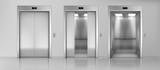 Fototapeta Miasto - Modern passenger or cargo elevators, lifts with closed, opened and half closed, metallic cabins doors, floor indicators digits and glossy flooring in empty corridor 3d realistic vector illustration