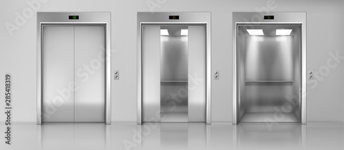 Photo Modern passenger or cargo elevators, lifts with closed, opened and half closed,