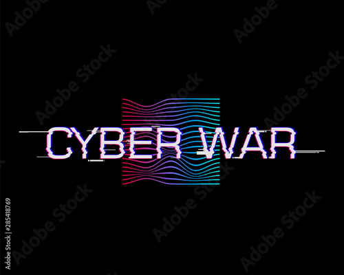 Photo  Cyber war horizontal vector illustration with glitch effect.