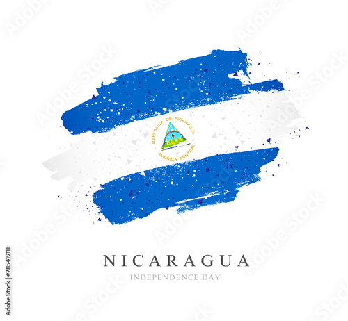 Flag of Nicaragua. Vector illustration on a white background. Fototapeta