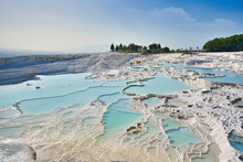 Travertines Of Pamukkale (thermal Pools) At Pamukkale Or Cotton Castle, Turkey