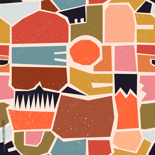 Türaufkleber Künstlich Hand drawn various shapes, spots, dots and lines. Different pastel colors. Abstract contemporary seamless pattern. Modern patchwork illustration in vector. Perfect for textile prints