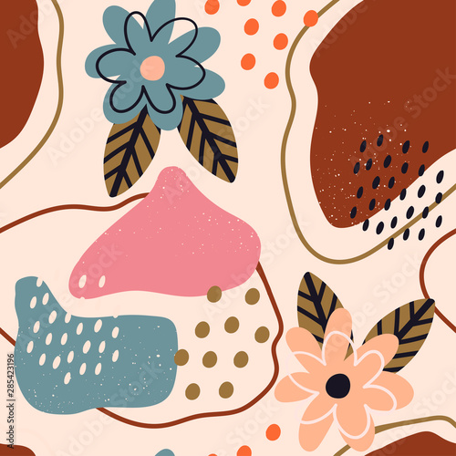 Fototapety, obrazy: Hand drawn various shapes, flowers and leaves, spots, dots and lines. Different pastel colors. Abstract contemporary seamless pattern. Modern patchwork illustration in vector
