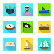 Isolated object of travel and attributes symbol. Set of travel and seafaring stock vector illustration.