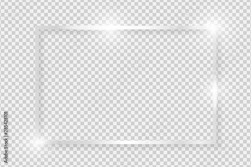 Fototapeta Silver shiny glowing vintage rectangle frame with shadows isolated on transparent background. Metal luxury realistic rectangle border. Vector illustration obraz na płótnie