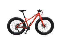 Fat Bike With Red Frame Isolated On White Background. Off-road Bicycle For Snow, Sand And Other Extreme Trails
