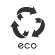 Eco label glyph icon. Three rounded arrow sign. Recycle symbol. Alternative energy. Environmental protection sticker. Organic cosmetics. Silhouette symbol. Negative space. Vector isolated illustration