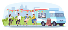 Street Food Cafe Flat Vector Illustration. Ready Takeaway Meal Restaurant. Summer Festival In City Park. Food Truck, Vendor, People At Tables Isolated Cartoon Characters On White Background