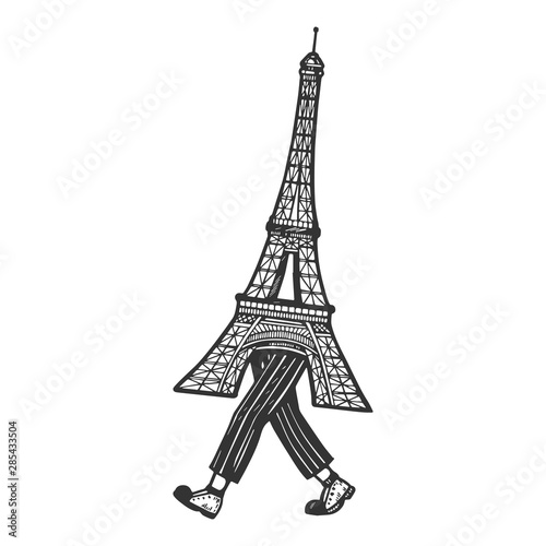 Eiffel Tower walks on its feet sketch engraving vector illustration. Scratch board style imitation. Black and white hand drawn image. Fototapete