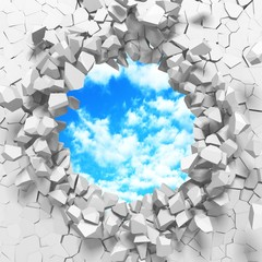 Fototapeta Na sufit Сracked broken hole in white wall to cloudy sky