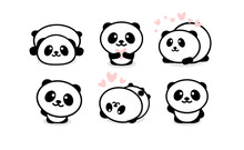 Friendly And Cute Pandas Set. ...