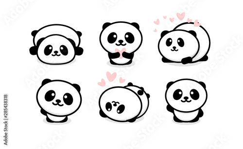 Friendly and cute pandas set Fotobehang