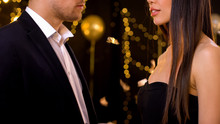 Male And Female Looking At Each Other At Party, Love From First Sight, Affection