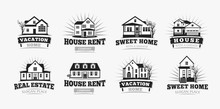 Villas Icons, Classic American Village House Architecture. Logo Template For Real Estate Agent, Sale And Rental, Restore And Repair Business.