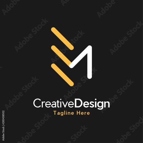 Letter EM Creative Business Logo Wallpaper Mural