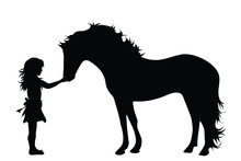 Vector Silhouette Of Girl With Horse On White Background. Symbol Of Animal,friends,childhood,pet.