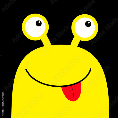 Monster Head Yellow Silhouette Happy Halloween Two Eyes Face Showing Tongue Cute Cartoon Kawaii Funny Character Baby Kids Collection Flat Design Black Background Buy This Stock Vector And Explore Similar Vectors