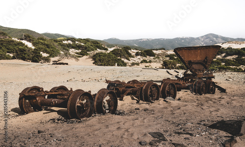 Photo Old Mine Carts on the beach - Piscinas Sardegna