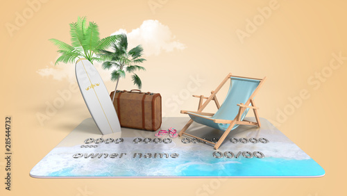 Slika na platnu vacation savings concept payment of vouchers by card chaise lounge suitcase and