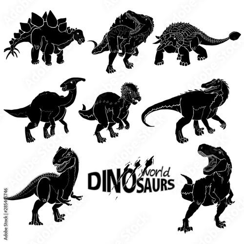 Fotografie, Tablou  Dinosaur Silhouettes Set