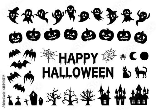 Photo Happy Halloween ハロウィン イラスト アイコン セット 黒