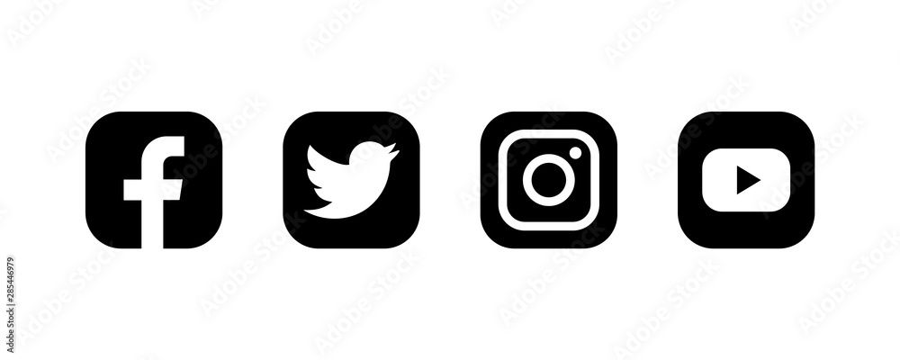 Set of facebook twitter instagram and youtube icons. Social media icons. Black colored set. illustration