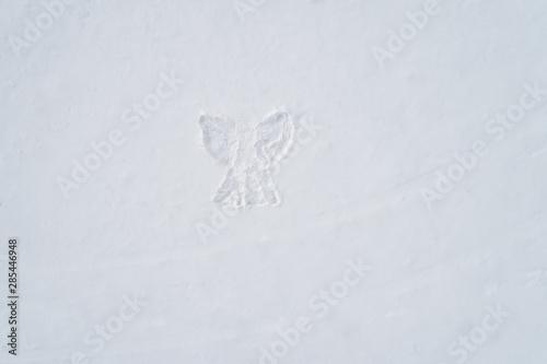 Fotobehang Vlinders in Grunge Angel figure on snow, winter outdoor activity concept. Aerial view.