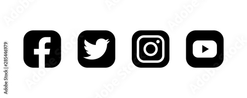 Set Of Facebook Twitter Instagram And Youtube Icons Social Media Icons Black Colored Set Illustration Buy This Stock Illustration And Explore Similar Illustrations At Adobe Stock Adobe Stock