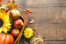 Basket With Autumnal Harvest A...