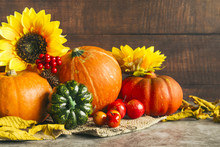 Autumn Harvest With Golden Sunflowers