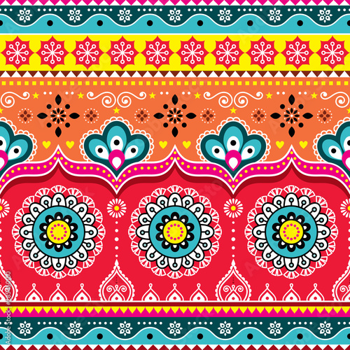 Pakistani or Indian truck art design, Jingle trucks seamless vector pattern, col Wallpaper Mural