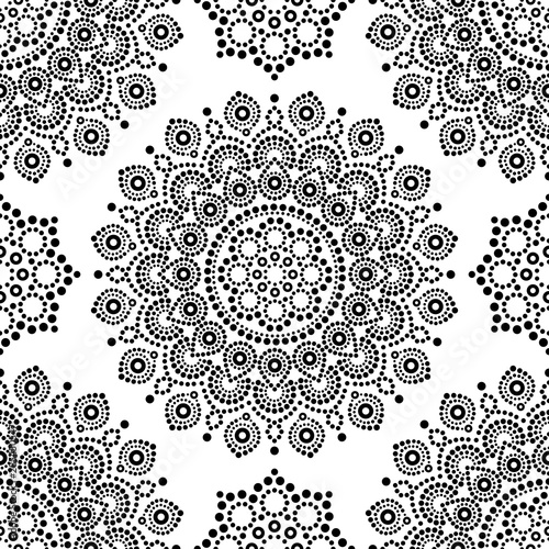 Dot painting monochrome vector seamless pattern with mandalas, Australian ethnic Wallpaper Mural