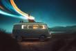 canvas print picture - Mann arbeitet auf Dach von Van
