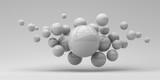 Flying spheres on a white background. 3d rendering. Illustration for advertising.