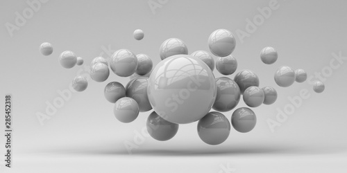 Flying spheres on a white background. 3d rendering. Illustration for advertising. - 285452318