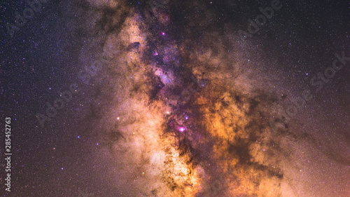 Cuadros en Lienzo Image showing the milky way galactic core with veil nebula and lagoon nebula in Sagittarius A region