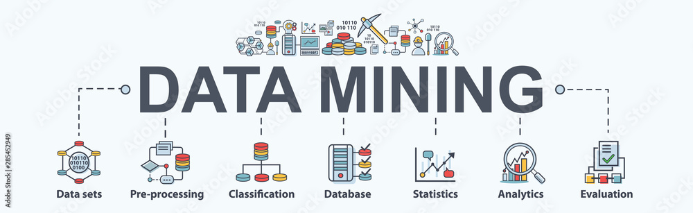 Fototapeta Data mining banner web icon for business and organization. Data set, process, classification, database, data analytic and evaluation. Minimal vector infographic.