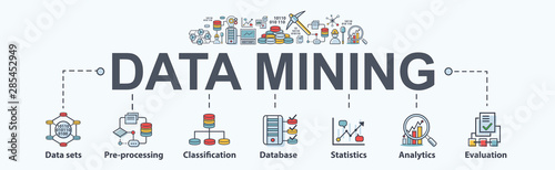Cuadros en Lienzo Data mining banner web icon for business and organization
