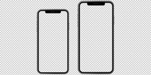 Set Of 2 Realistic New Phones. Ideal For Marketing, Web Design, Ui And Ux. Vector Template