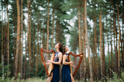 Two women harpists stand at forest and play harps against a background of pines Wallpaper Mural