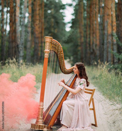 Fotografia Woman harpist sits at forest and plays harp against a background of pines and smoke