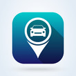 Car and pin location logo. Simple vector modern icon design illustration.