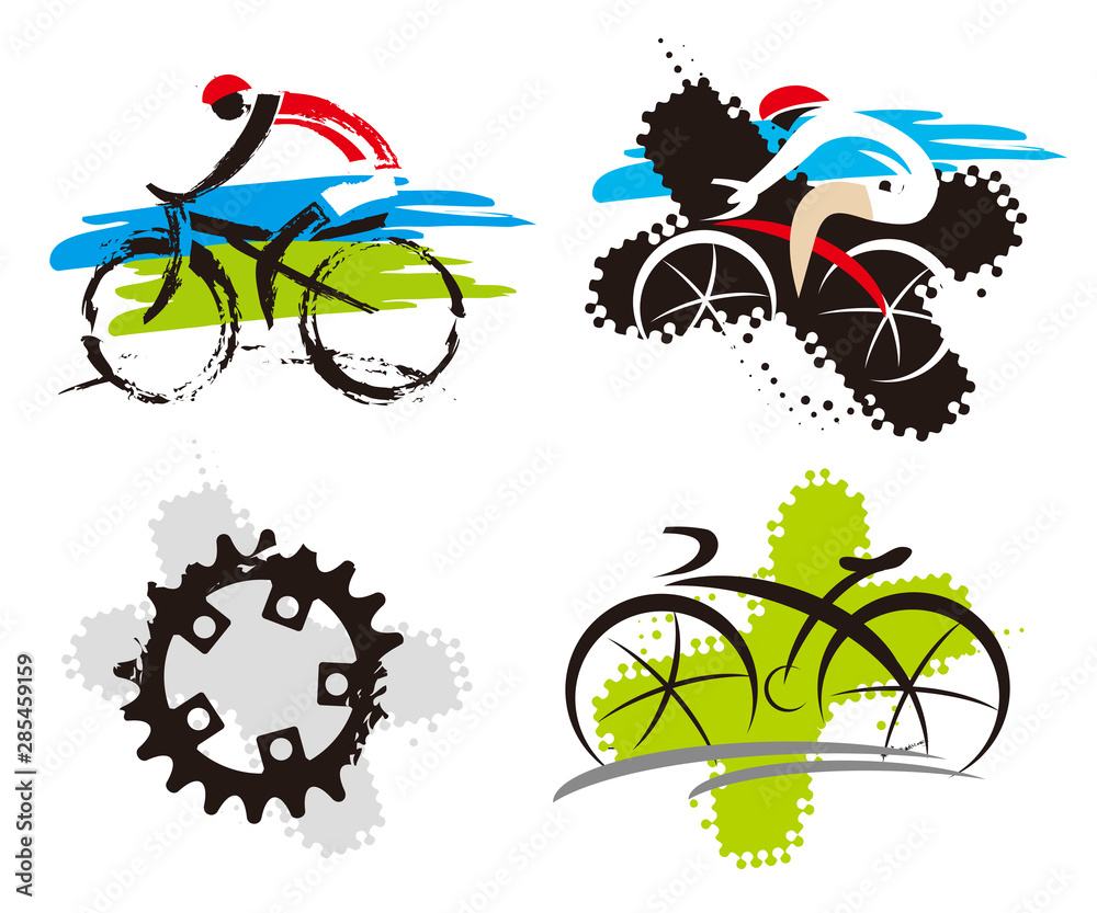 Fototapety, obrazy:   Cyclling icons grunge stylized. Set of expressive stylized cycling icons. Isolated on white background. Vector available.