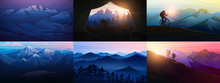 Set Of Layered Mountains For P...