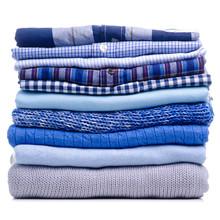 Stack Folded Blue Shirt Clothi...