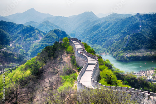 Poster Chinese Muur great wall of china lakeside haoming lake beijing