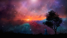 Space Scene. Magician Stand On Landscape Silhouette With Colorful Nebula, Elements Furnished By NASA, 3D Rendering