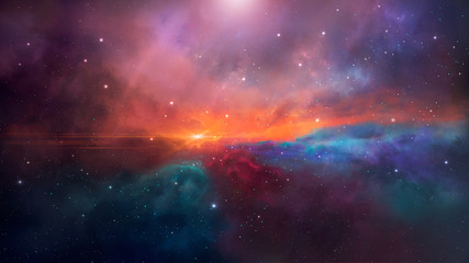 Space background. Colorful nebula with stars. Elements furnished by NASA. 3D rendering