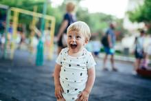 Cute Little Boy On Playground Outdoor In Summer